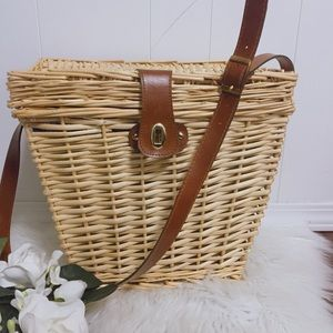 Large Picnic Basket Bag with leather Strap